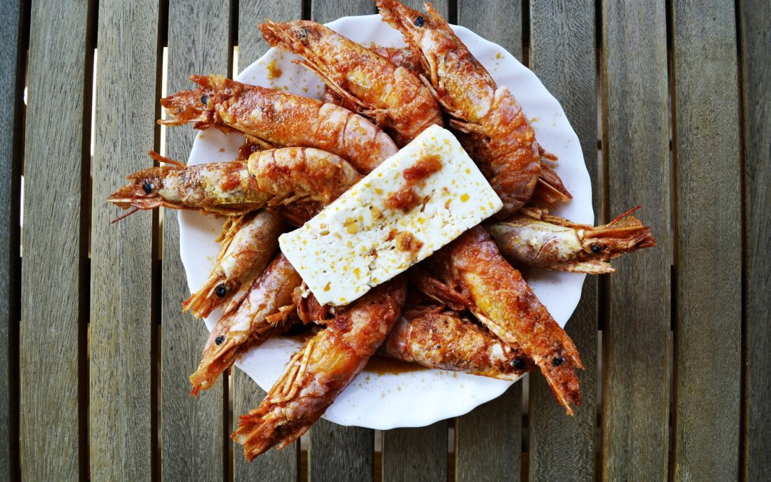 Gambas con crema de queso low carb